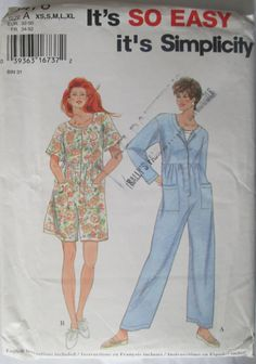 Simplicity 9476 Jumpsuit in Two Lengths Pattern by Denisecraft, $6.99