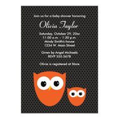 Owl Halloween Baby Shower Invitations