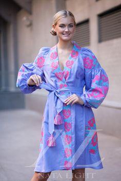 Embroidered purple midi dress Ukrainian by NataLightEmbroidery