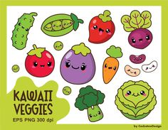 50%OFF, Kawaii vegetables clipart, kawaii veggies clipart, healthy food clipart, cute vegetables clipart, beans, vegetarian, Commercial Use by CockatooDesign on Etsy