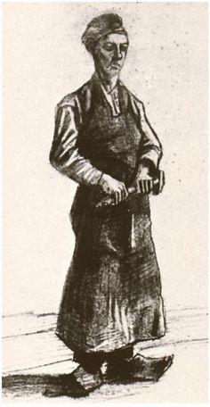 Vincent van Gogh Un carpintero con delantal Drawing