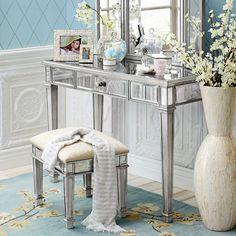 Hayworth Silver Mirror U0026 Vanity | Mirror Vanity, Vanity Tables And Vanities