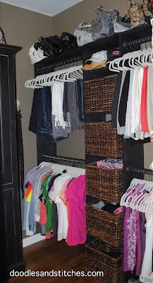 """An organized walk in closet. A dream, at my house. Our supposed """"walk-in"""" is not very big. Would love to come up with a closet system that would house our clothes better... and in a way we could see them all."""