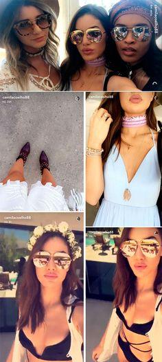 Camila coelho look coachella oculos espelhado lenco bandana maio 2016