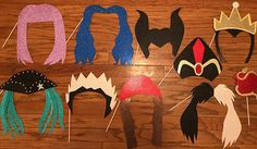 10 Piece Disney Descendants Photo Booth Props! **IF YOU NEED PROPS IN 7 DAYS OR LESS PLEASE ORDER RUSH SET** ***10 pieces include: Mal, Uma, Evie, Carlos, Jay, Jafar, Evil Queen, Malificent, Cruella De Vil, and the Descendants apple.*** ***Please see our other listing if you are