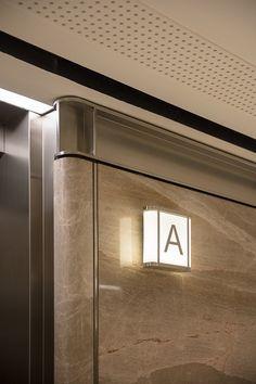Ferko Signature on Behance in 2020 Lift Design, Wall Design, House Design, Design Design, Lobby Interior, Interior Architecture, Modern Interior, Interior Design, Elevator Design