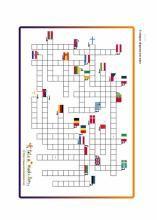 jeu gratuit à imprimer : mots fléchés : drapeau des Etats de l'Union Européenne - Tête à modeler