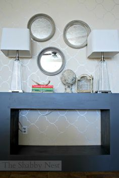 Loving this DIY console table also love this wall!!!!!!!!!!!!!