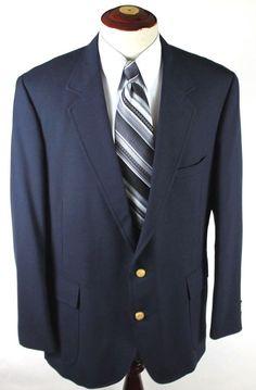 Hardwick Clothes Blazer Sport Coat size 48R Navy Blue Gold Button 2 Btn Wool #HardwickClothes #TwoButton