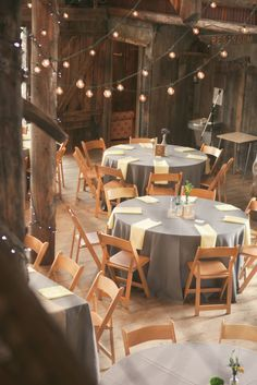 Pretty gray tables and lights