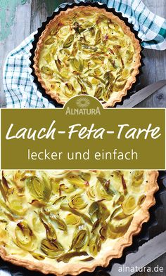 Thanks alnatura for this post.Make leek feta tart recipe yourself Tarte is a hearty French cake. In our tart recipe, the topping is leek and feta. You can also make a tart according to your preferences. Please don't be put off# Feta Fruit Smoothies, Healthy Smoothies, Healthy Snacks, Vegan Breakfast Recipes, Snack Recipes, Leek Pie, Leek Tart, Queso Feta, Easy Smoothie Recipes