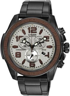 Citizen Drive Collection Eco-Drive Chronograph Stainless Steel Case and Bracelet Gray Tone Dial Brand Name Watches, Sport Watches, Cool Watches, Watches For Men, Citizen Watches, Stainless Steel Bracelet, Stainless Steel Case, Discount Watches, Citizen Eco