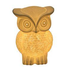 Owl Porcelain Lamp. I wouldn't mind having an owl light up the room. I love owls.