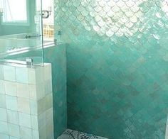 For Mermaids and Water Sprites / The most perfect mermaid-esque shower ever. #decor #home #house #bathroom #aqua #blue #sea