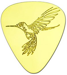 """Unique & Custom [0.38mm Thin Gauge - Traditional Style Semi Tip] Hard Luxury Guitar Pick Made of Genuine Solid Brass w/ Wildlife Flying Tribal Hummingbird Design """"Gold Yellow Colored"""" {Single Pick} mySimple Products"""