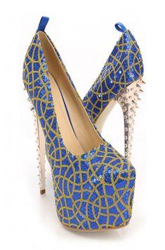 Blue Sequins Glitter Platform Pump Heels
