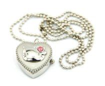 Kitty Silver Heart Locket Watch Neckla
