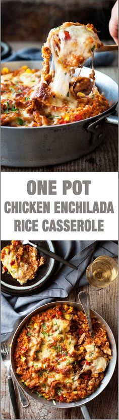 One Pot Chicken Enchilada Rice Casserole - the flavours of chicken enchilada, in a rice casserole, all made in ONE POT on the stove! *used Trader Joe's enchilada sauce Mexican Dishes, Mexican Food Recipes, Vegetarian Mexican, Enchilada Rice, Tacos, Masterchef, Good Food, Yummy Food, One Pot Chicken