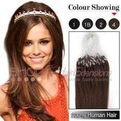 20 Inch 100s Micro Loop Ring Human Hair Extensions (#4 Chocolate Brown)