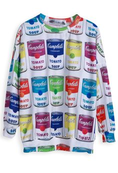 White Long Sleeve Soup Print Loose Sweatshirt - Sheinside.com