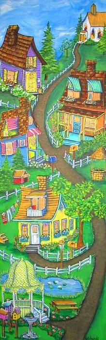 Happy Village by Jill Alexander Vibrant Colors, Colours, Facebook Likes, Clash Of Clans, Fine Art America, Art Deco, Artsy, Wall Art, Studio