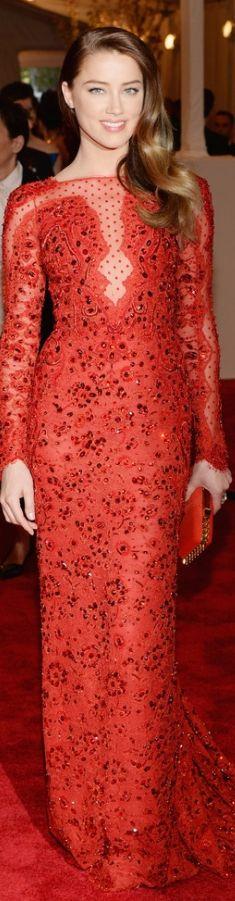 Amber Heard, in custom Emilio Pucci with Pomellato jewels. Met Gala 2013 | The House of Beccaria#