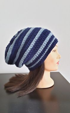 Blue Striped Slouchy Beanie by TikosPlace on Etsy