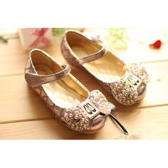 Bronze Patent Leather Beaded Flower Pageant Party Girl Mary Jane Shoes  SKU-133167