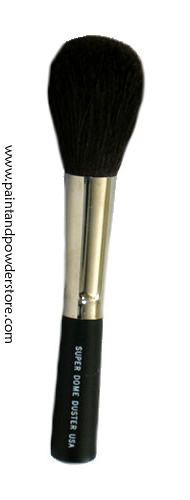 SuperDome Duster/Powder Brush - Made of the finest goat and pony hair mixture for softness with durability, and even disbursement of powder products. This is a staple brush for every makeup artist's brush collection no matter what makeup discipline you work in. It stands up to frequent use and cleaning without shedding or losing it's shape if properly cared for.  Cruelty free and made in the USA.