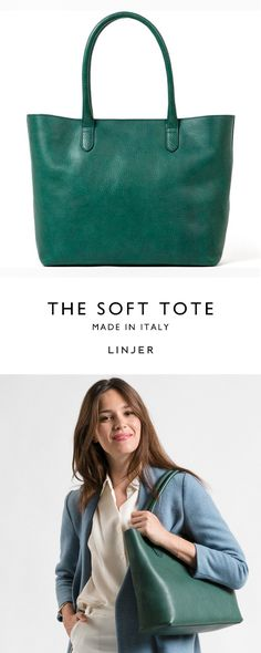 Forest green tote made with vegetable-tanned leather.