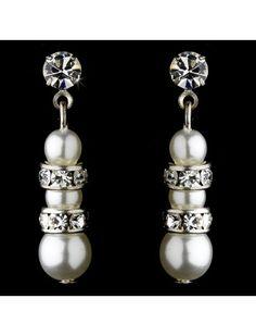 WHITE FAUX PEARL CRYSTAL DROP EARRINGS - BRIDAL WEDDING JEWELLERY - Wedding Earrings - Wedding Earrings - Wedding Jewellery - Wedding Accessories