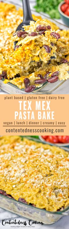 This Tex Mex Pasta Bake is vegan, gluten free. Full of amazing flavors, super easy and a Mexican inspired must make. It's made with a homemade dairy free avocado sauce and lots of roasted corn. A mouthwatering dinner or lunch, you can't resist. #texmex #vegan #pasta #dinner #lunch #comfort #mexican #plantbased #glutenfree