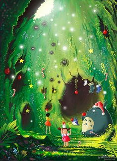 Totoro's Christmas Cave - greeting card by Syntetyc.deviantart.com