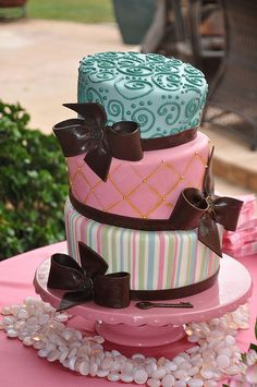 Pink & Blue Party Cake w/ Bows by Designer Cakes By April, via Flickr
