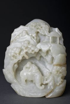 Fine Chinese Carved White Qing Jade Boulder