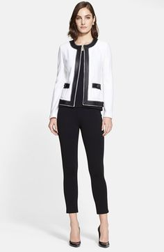 St. John Collection Bouclé Trellis Knit Jacket with Leather & Silk Trim available at #Nordstrom