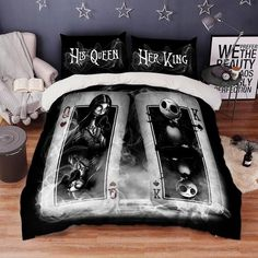 King Size Quilt Covers, Duvet Cover Sets, Queen Bedding Sets, Comforter Sets, King Beds, Queen Beds, Nightmare Before Christmas Bedding, Jack And Sally, Blanket Cover