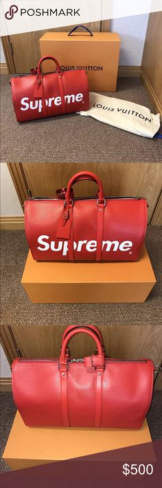 Supreme x LV duffle bag 100% authentic brand new out the box comes with box and receipt only one available contact if interested 2259160302 I have more pictures and videos Louis Vuitton Bags Duffel Bags