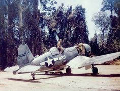 Look at the washed colors of this used and dirty VMF-214 F4U-1A (Bu No 17829) pictured on Bougainville Island (Dec 1943). According to the jungle, the ground and the type of trees, this plane is apparently parked on one of the two landstrips of Piva, near the Cape Torokina. (USMC)