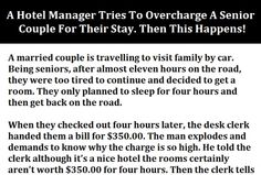 a hotel manager tries to overcharge a senior couple for their stay then this happens