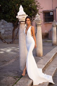 Online Shop Smileven Mermaid Wedding Dress Spandex Sleeveless Sexy Deep V Neck Beach Bride Dresses Train Elegant Wedding Boho Bridal Gowns V Neck Wedding Dress, Backless Wedding, White Wedding Dresses, Bridal Dresses, Gown Wedding, Lace Wedding, Wedding Cakes, Wedding Rings, Spring Wedding