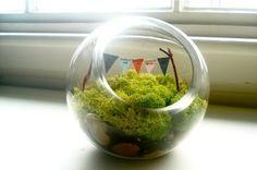 Personalized mini bunting inside mini terrarium...want.