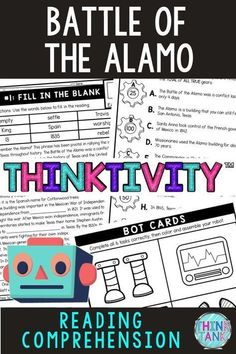 """The Battle of the Alamo Thinktivity™ is an engaging reading comprehension activity in which students """"earn"""" robot parts as they complete each task. The reading passage provides a unique way to get students excited about learning about the Alamo. #Alamo #ThinkTank #USHistory #ReadingComprehensionTasks #ReadingPassages #4thgrade #5thgrade #6thgrade #CloseReading #MiddleSchool #UpperElementary #Thinktivity™ 4th Grade Ela, 5th Grade Reading, Reading Comprehension Activities, Reading Passages, Middle School History, Upper Elementary Resources, World History Lessons, History Activities, Close Reading"""