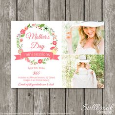 Mother's Day Mini Session Template Marketing Board - Mom & Me Session Advertising Flyer for Photographers - Spring Floral Flower Bridal