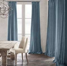 Stair Rods For Carpet Runners Light Blue Curtains, Blue Velvet Curtains, Blue Curtains Living Room, Drapes And Blinds, Curtains For Sale, Linen Curtains, Drapery, Brick Room, Custom Drapes