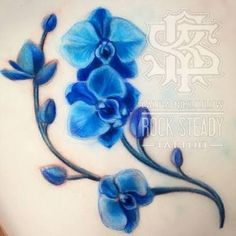 Image result for blue orchid tattoo Blue Orchid Tattoo, Oriental Lily, Blue Orchids, Floral Border, Tatoos, Body Art, Girly, Pendant, Tattoo Ideas