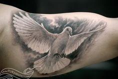 3D dove tattoos - 55 Peaceful Dove Tattoos  <3 <3
