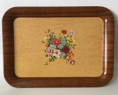 Vintage Metal TV Tray Wood Look Flowers Floral Bouquet No Legs Shabby Cottage