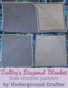 Tadley's Diagonal Blanket, free double-ended crochet pattern by Underground Crafter - This pattern uses a double-ended hook, regular crochet and tunisian crochet - Reversible Baby Afghan Crochet Patterns, Baby Blanket Crochet, Crochet Baby, Crochet Afghans, Crochet Blankets, Baby Blankets, Tunisian Crochet, Crochet Stitches, Crochet Hooks