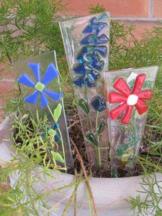 Red Fused Glass Flower Pot Plant Poke Stake by GlassArtByMargot, $12.50